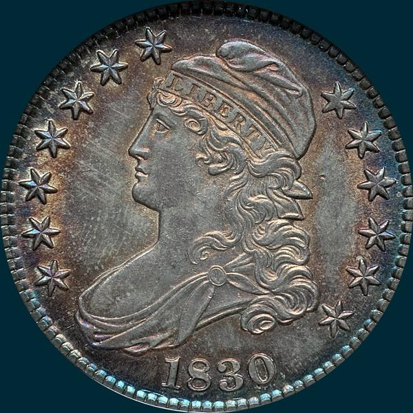 1830 O-107, small 0, capped bust half dollar