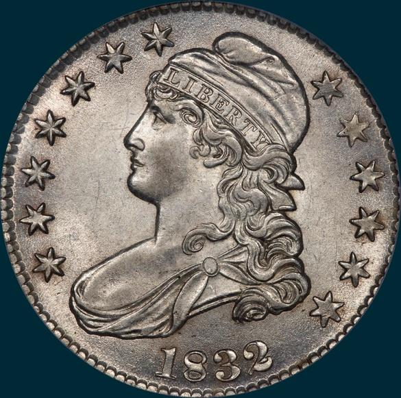 1832 O-121 capped bust half dollar