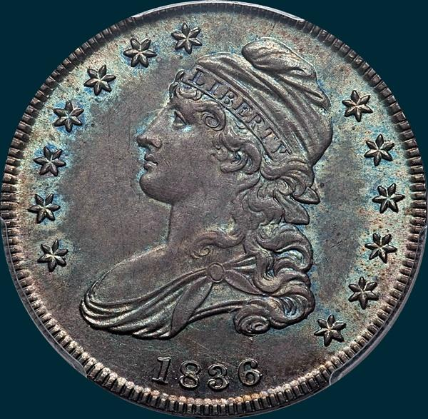 1836 o-101, capped bust half dollar