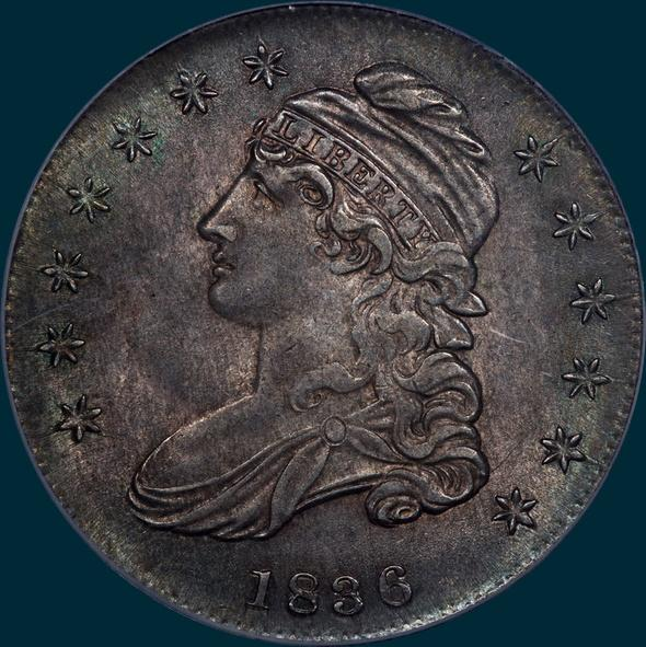 1836 O-102, capped bust half dollar