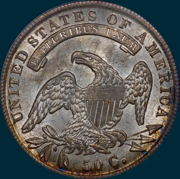 1836 o-122, capped bust half dollar