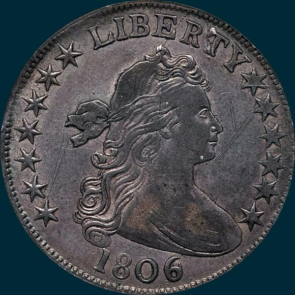 1806, 6 over inverted 6, 6/9, O-111a, Draped Bust, Half Dollar