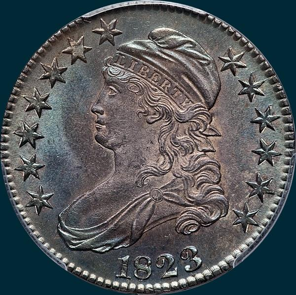 1823, O-110, Capped Bust, Half Dollar