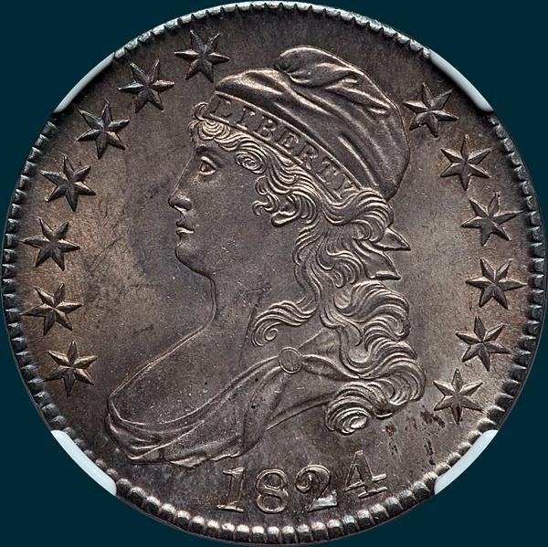 1824 O-107, capped bust half dollar
