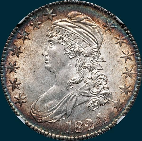 1824 over 4,  O-109, capped bust half dollar