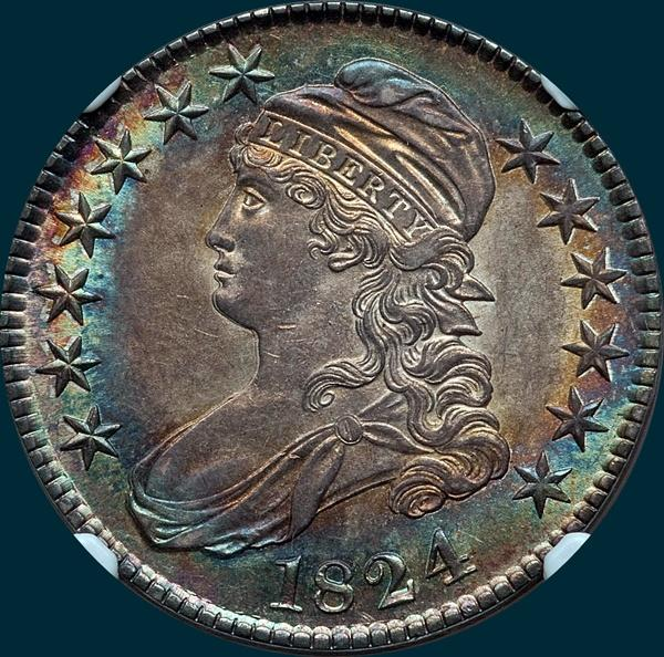 1824 O-116, capped bust half dollar