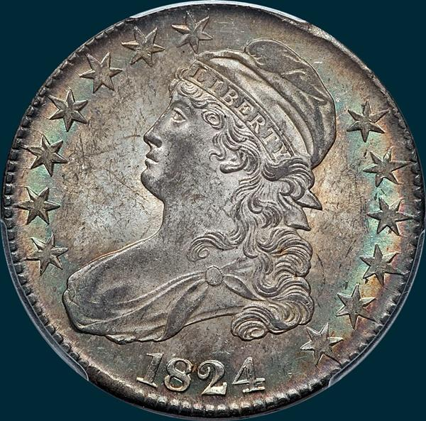 1824 O-117, capped bust half dollar