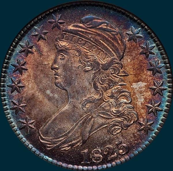 1825, O-101 capped bust half dollar