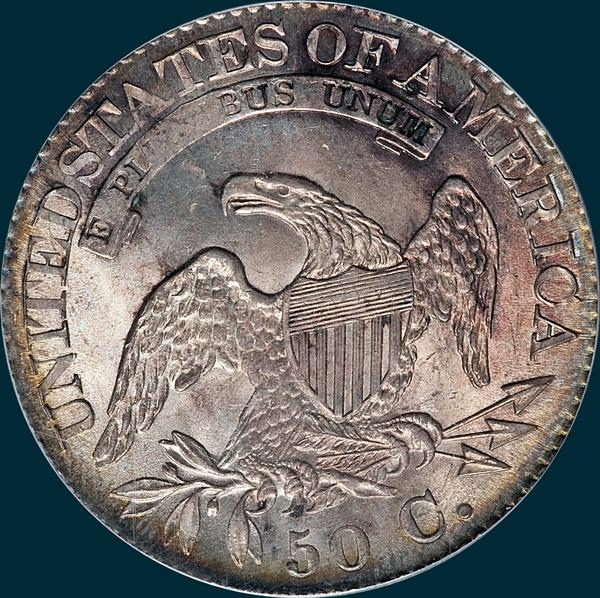 1825, O-105 capped bust half dollar