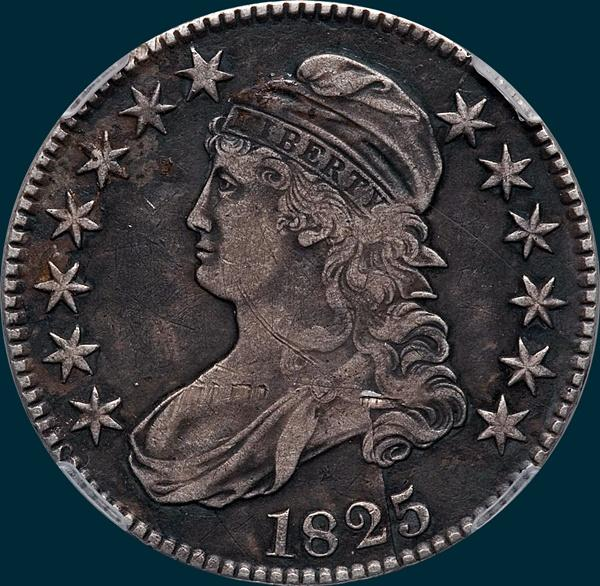 1825, O-118 capped bust half dollar