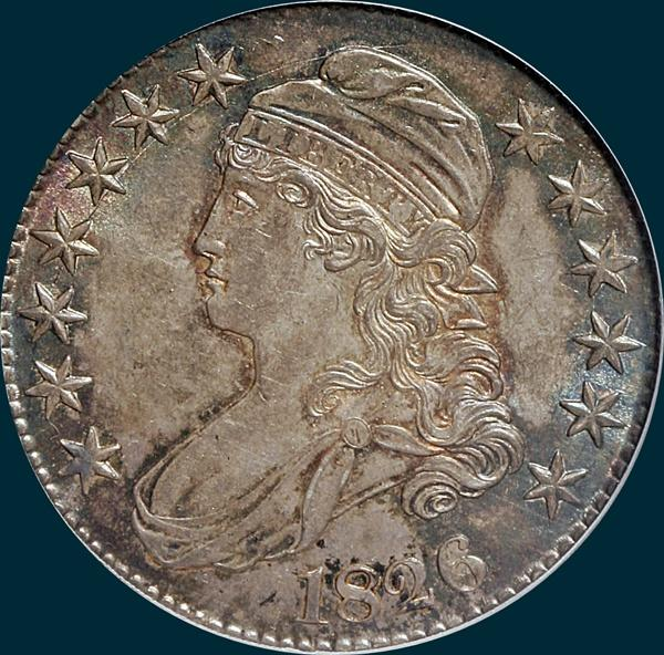 1826, O-108, Capped Bust, Half Dollar