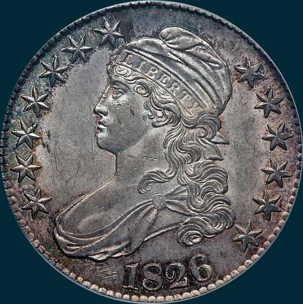 1826, O-108 Prime, Capped Bust, Half Dollar