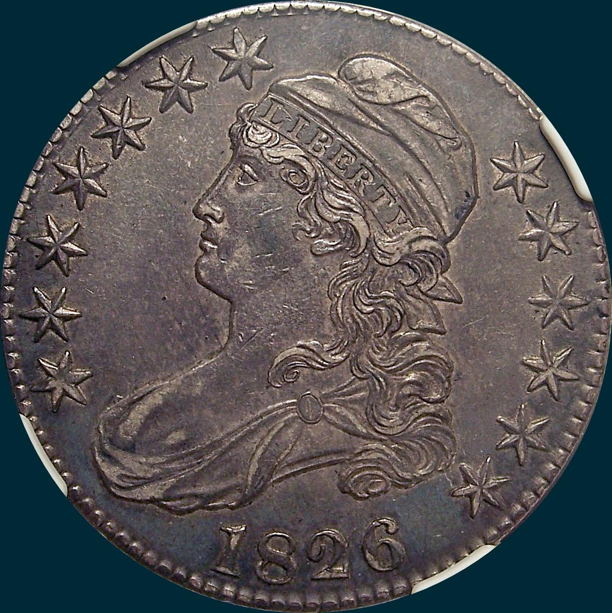 1826, O-119, capped bust, half dollar