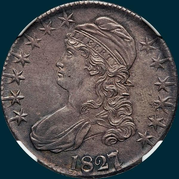 1827, O-103, 7 over 6, Capped Bust, Half Dollar
