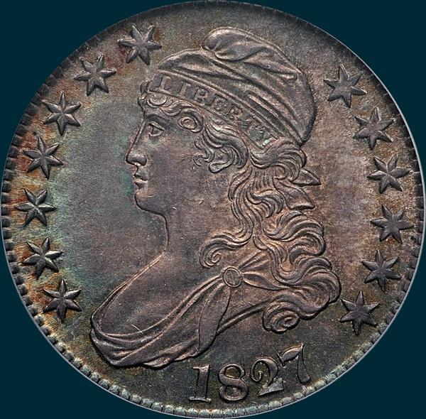 1827, O-105, R3, Square Base 2, Capped Bust, Half Dollar