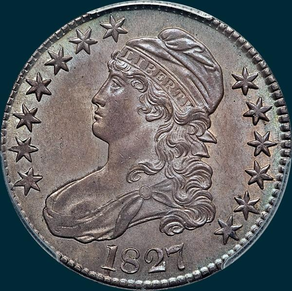 1827, O-108a, R4-, Square Base 2, Capped Bust, Half Dollar
