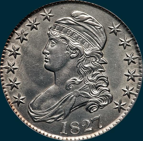 1827, O-111, R4, Square Base 2, Capped Bust, Half Dollar