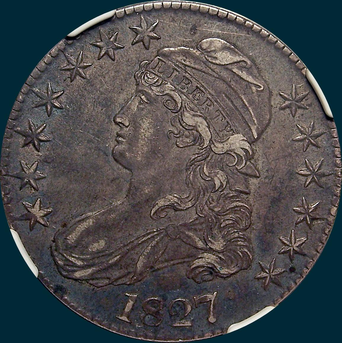 1827, O-112, R3, Square Base 2, Capped Bust Half Dollar