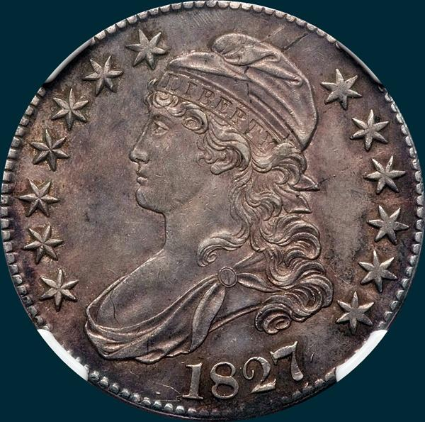 1827 O-113, Capped bust half dollar