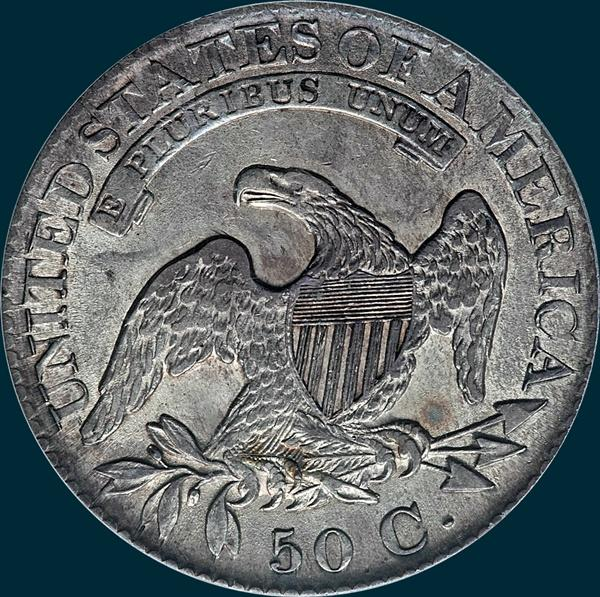 1827, O-119, R3, Square Base 2, Capped Bust, Half Dollar