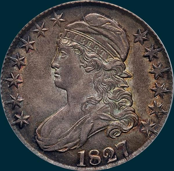 1827 o-123, capped bust, half dollar