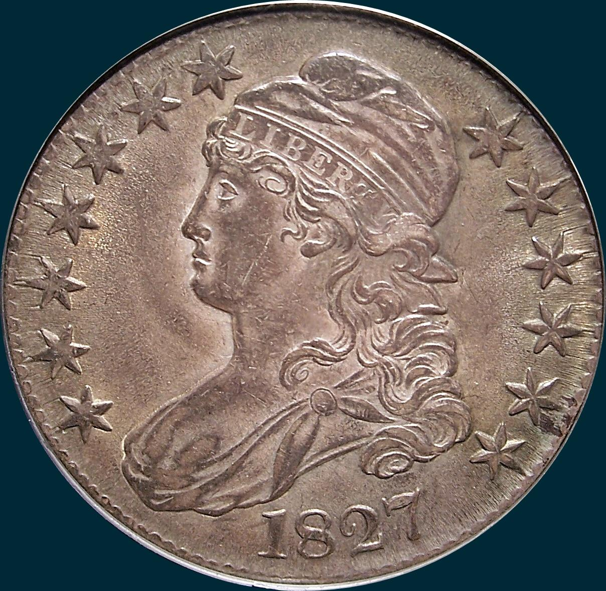 1827, O-125, R3, Square Base 2, Capped Bust, Half Dollar
