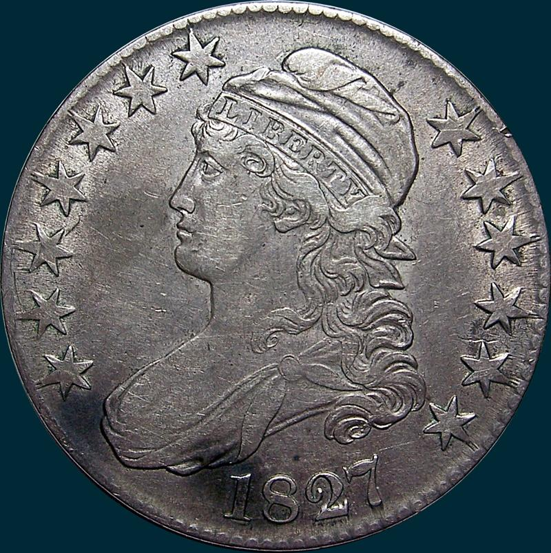 1827, O-126, R2, Square Base 2, Capped Bust, Half Dollar