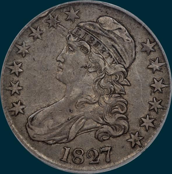 1827, O-127, R5, Square Base 2, Capped Bust, Half Dollar
