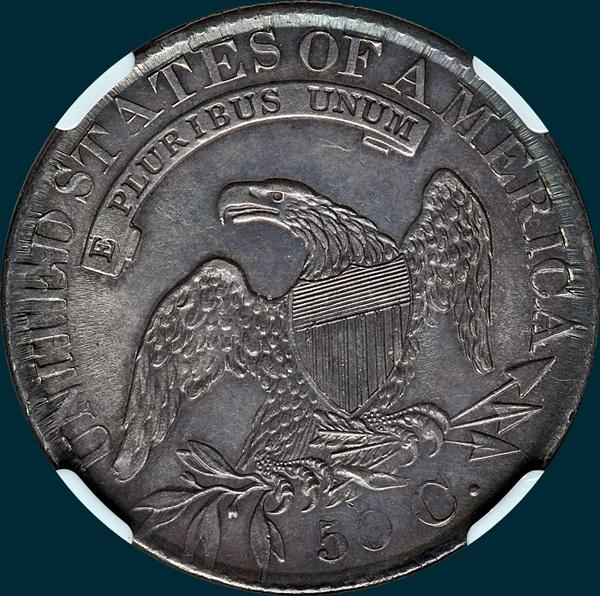 1827 O-128, Capped bust half dollar