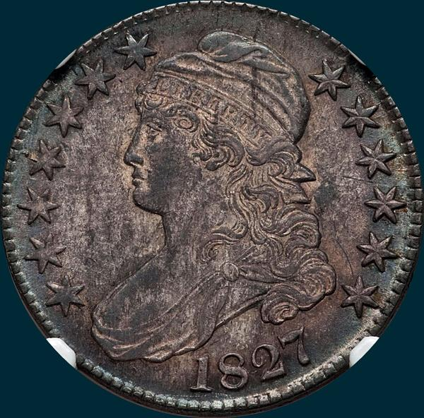 1827, O-138, R4, Square Base 2, Capped Bust, Half Dollar
