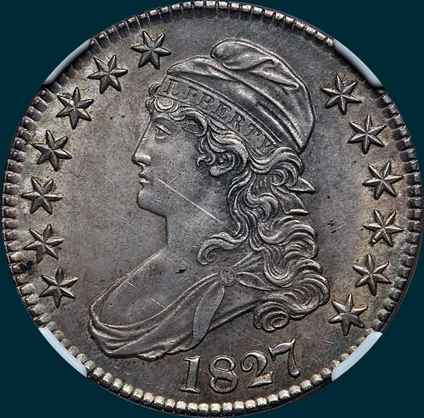 1827, O-140, R4+, Square Base 2, Capped Bust, Half Dollar