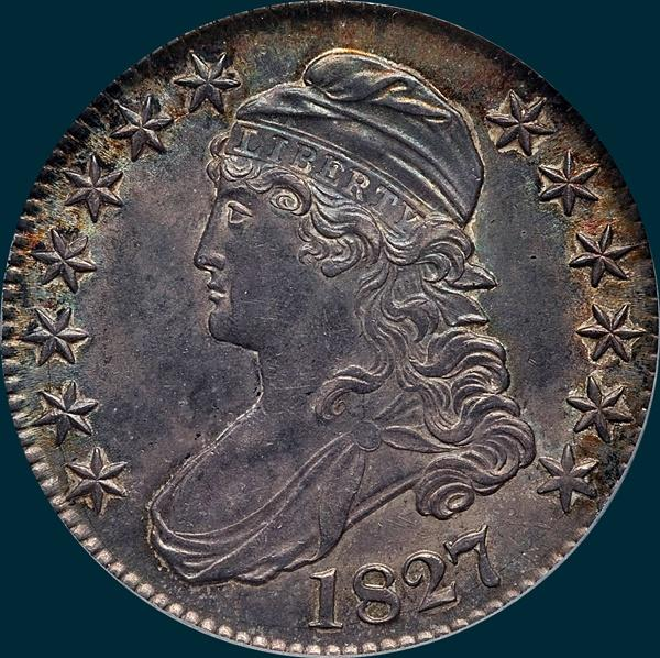 1827, O-140a, R5, Square Base 2, Capped Bust, Half Dollar