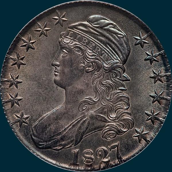1827, O-147, R4, Curl Base 2, Capped Bust, Half Dollar