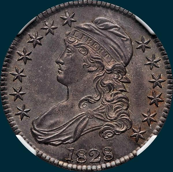 1828, O-118a, Square Base 2, Small 8's, Large Letters, Capped Bust, Half Dollar