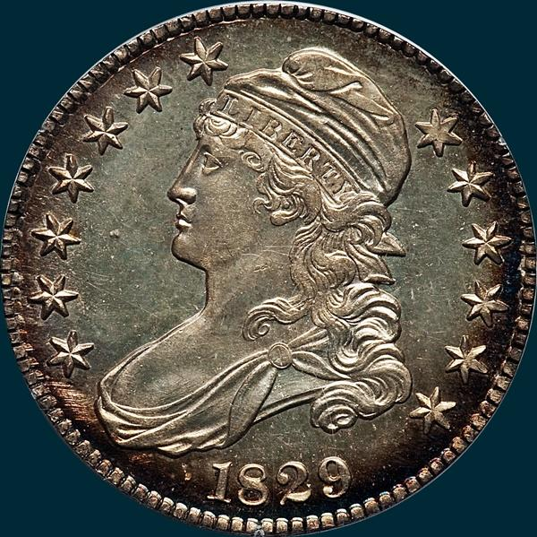 1829 O-108, capped bust half dollar