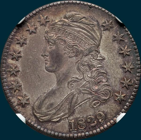 1829 O-112, capped bust half dollar