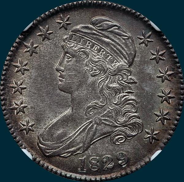 1829 O-116, capped bust half dollar