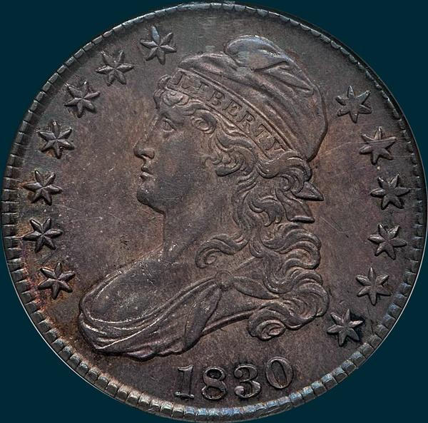 1830 O-102, small 0, capped bust half dollar
