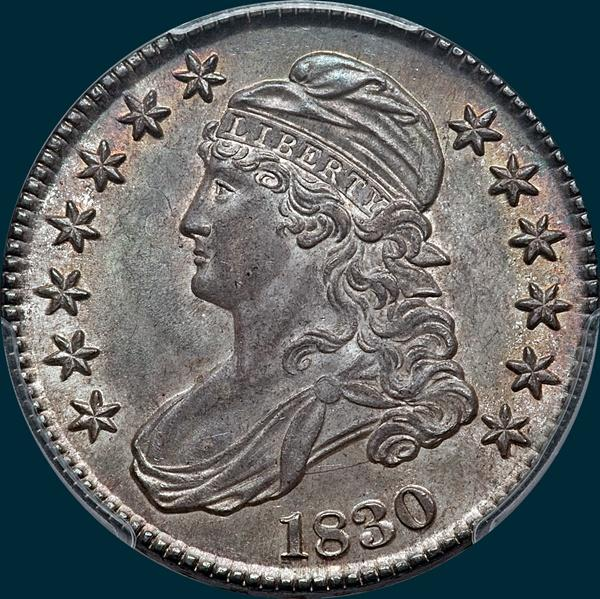 1830 O-117, small 0, capped bust half dollar