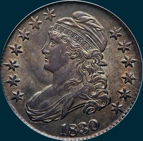 1830 O-118, small 0, capped bust half dollar