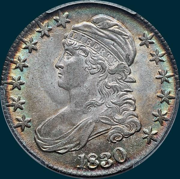 1830 O-123, large 0, capped bust half dollar