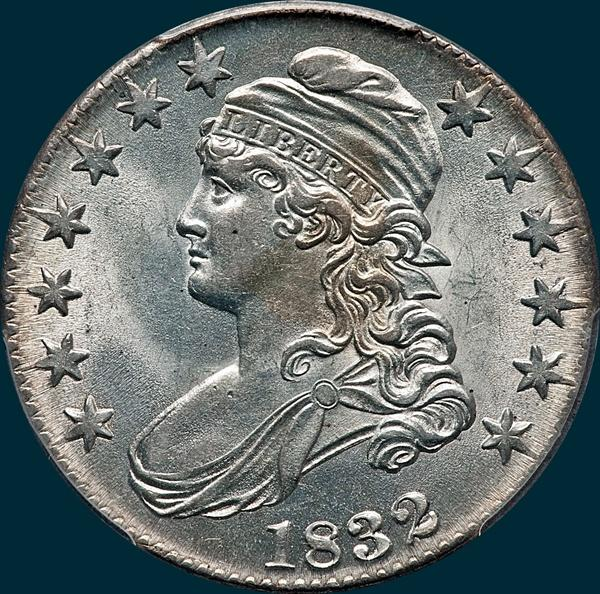 1832 O-105 capped bust half dollar