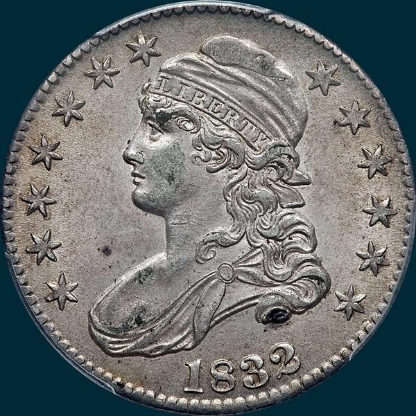 1832 o-117, capped bust half dollar