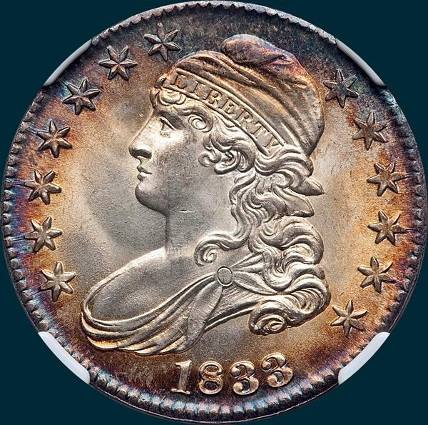 1833 O-101, capped bust half dollar