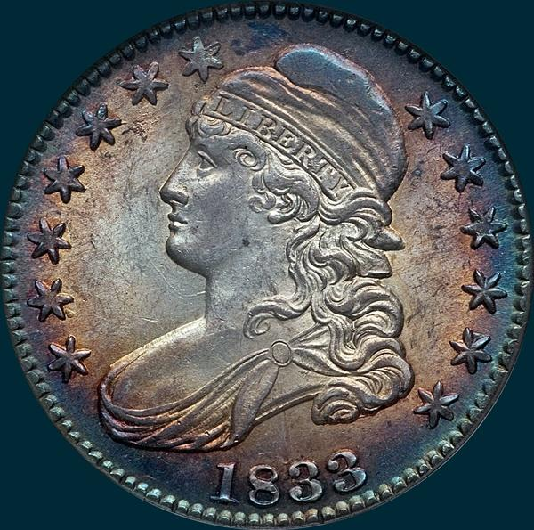 1833 O-105, capped bust half dollar