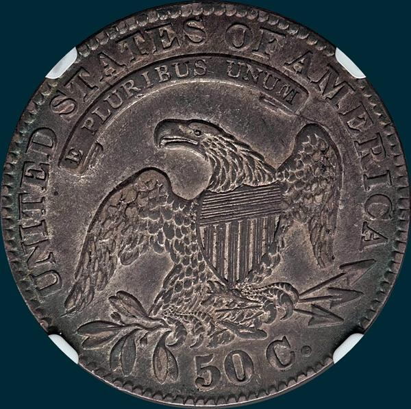 1833 O-114, capped bust half dollar