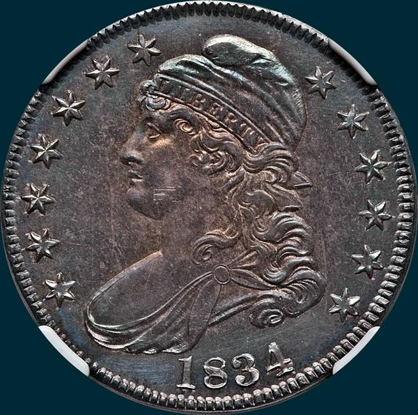 1834, O-104, Large Date, Small Letters, Capped Bust, Half Dollar