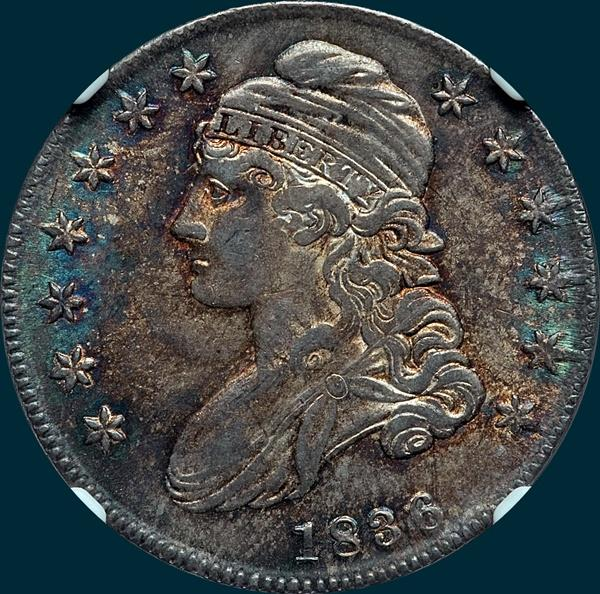 1836 o-107, capped bust half dollar