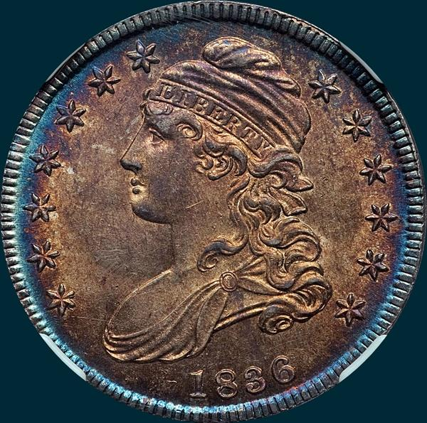 1836 o-113, capped bust half dollar