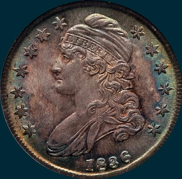1836 o-115, capped bust half dollar